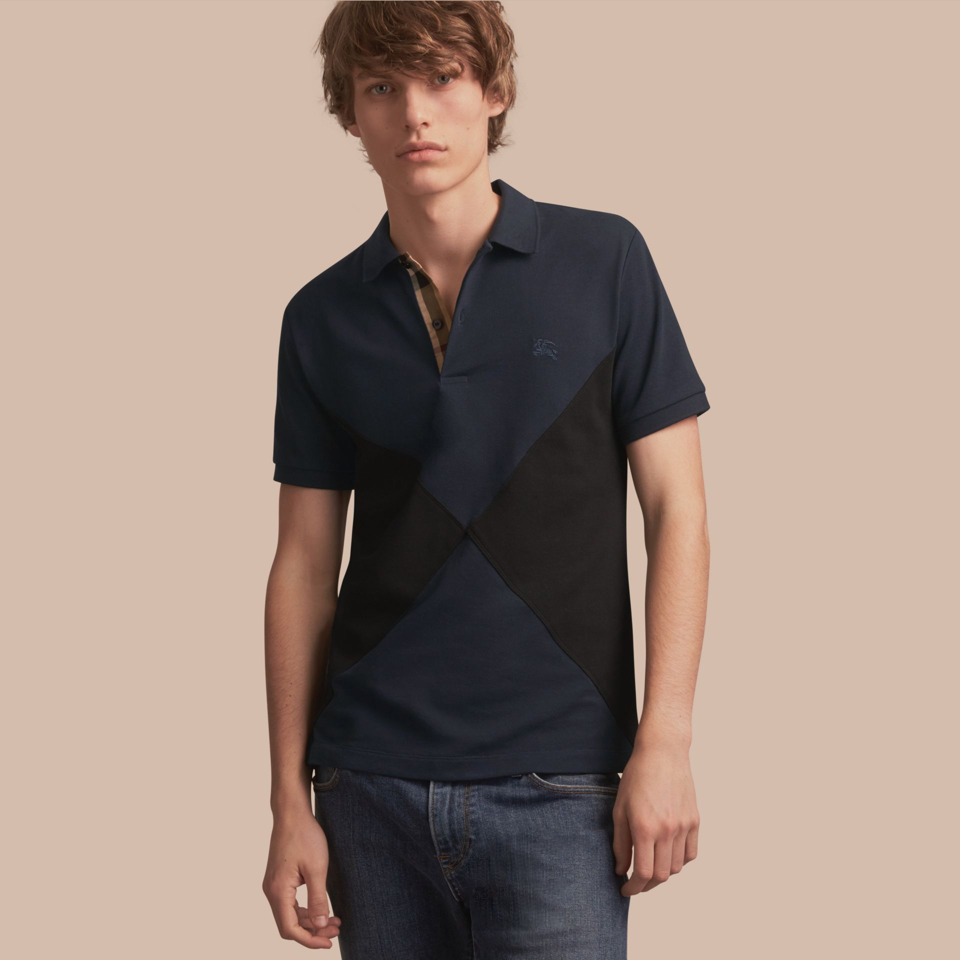 Geometric Motif Cotton Piqué Polo Shirt with Check Placket in Dark Navy - gallery image 1