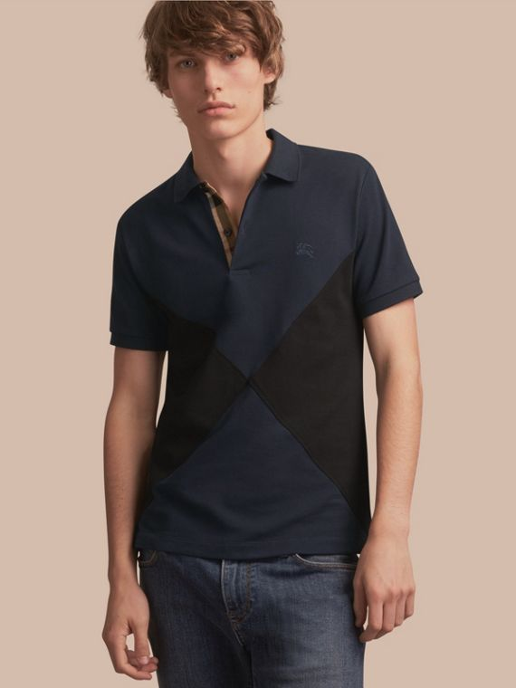 Geometric Motif Cotton Piqué Polo Shirt with Check Placket Dark Navy