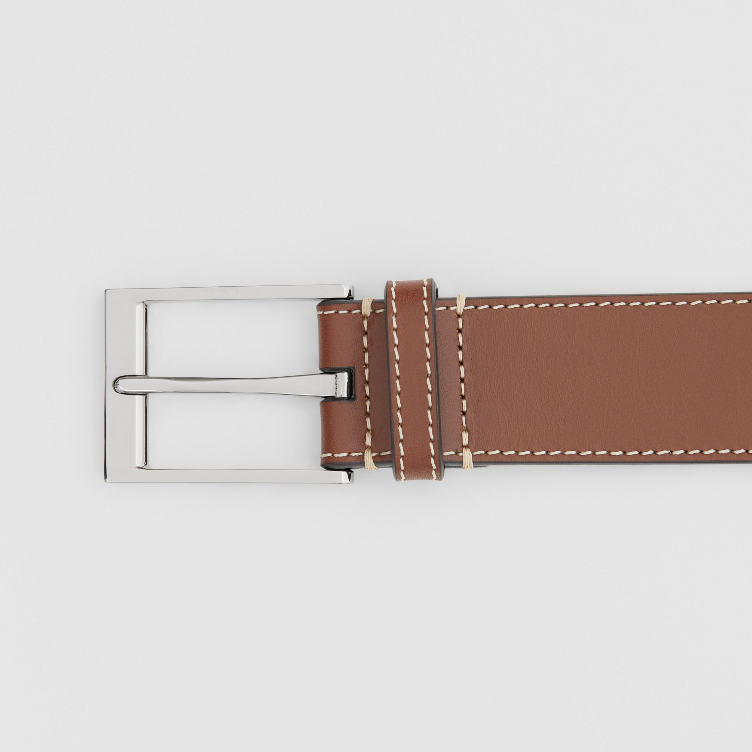 Topstitched Leather Belt in Tan - Men | Burberry - 2