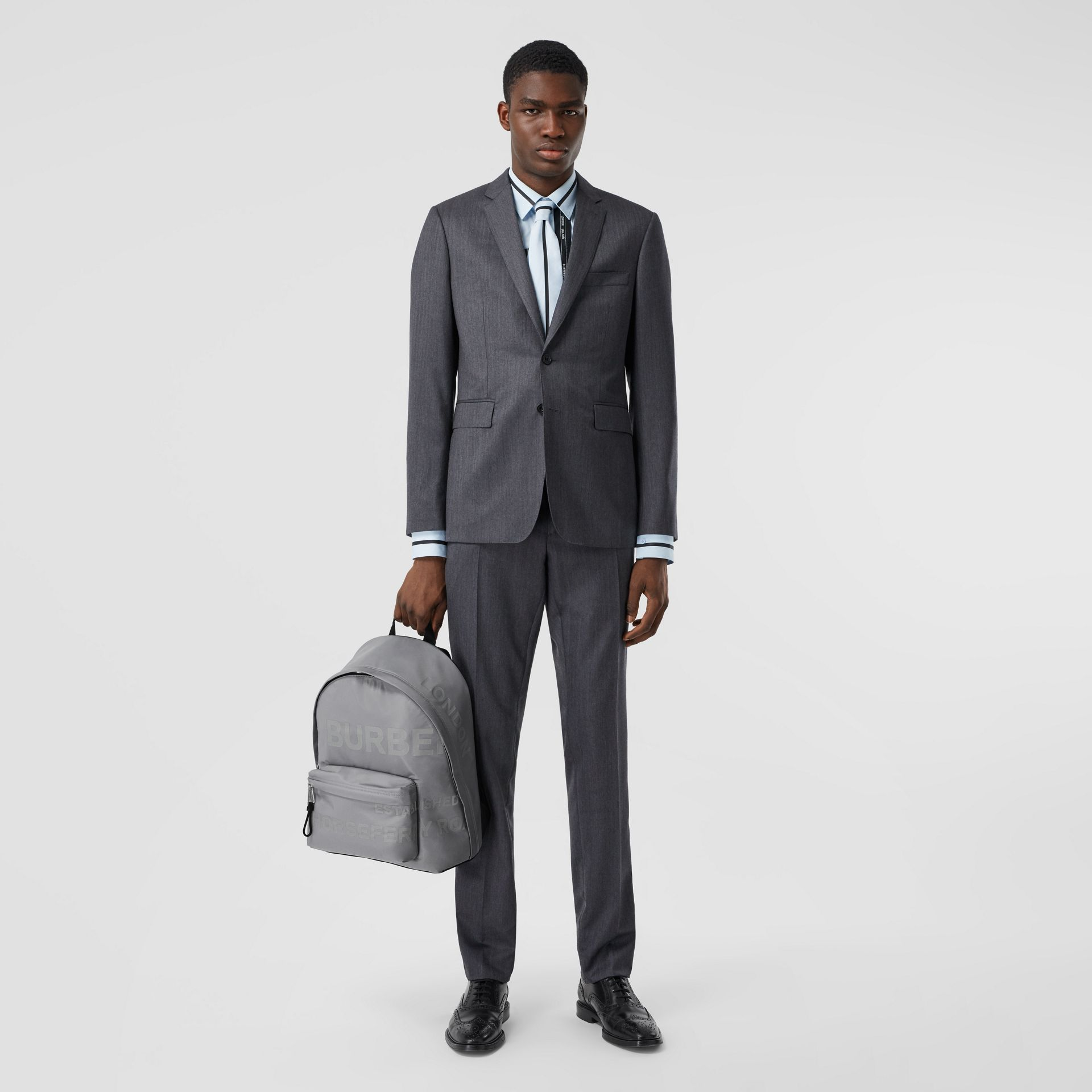 Horseferry Print ECONYL® Backpack in Cloud Grey | Burberry United States - gallery image 10