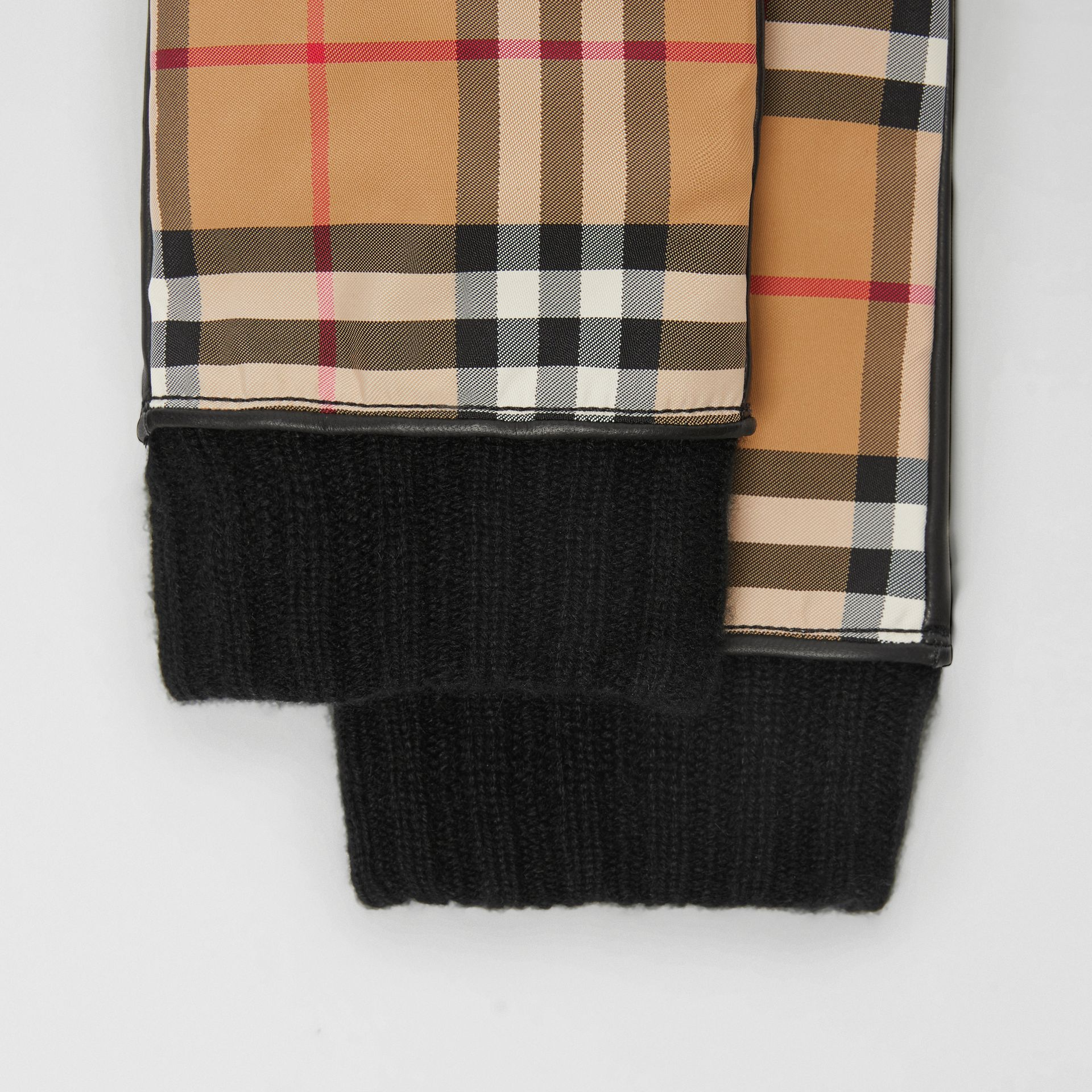 Cashmere-lined Vintage Check and Lambskin Gloves in Antique Yellow/black | Burberry - gallery image 1