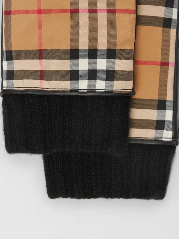Cashmere-lined Vintage Check and Lambskin Gloves in Antique Yellow/black | Burberry - cell image 1