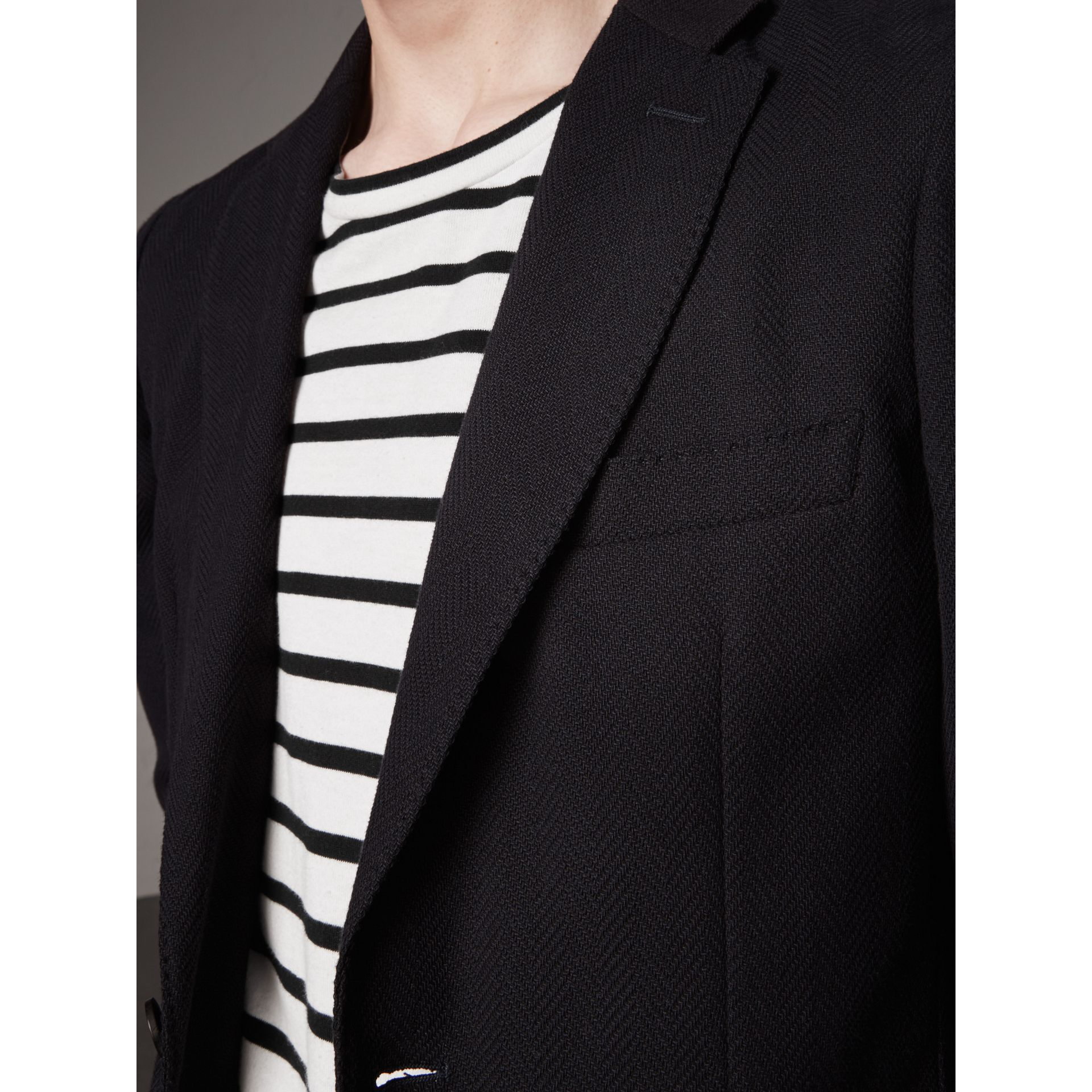 Soho Fit Herringbone Cotton Blend Jacket in Navy - Men | Burberry Singapore - gallery image 5