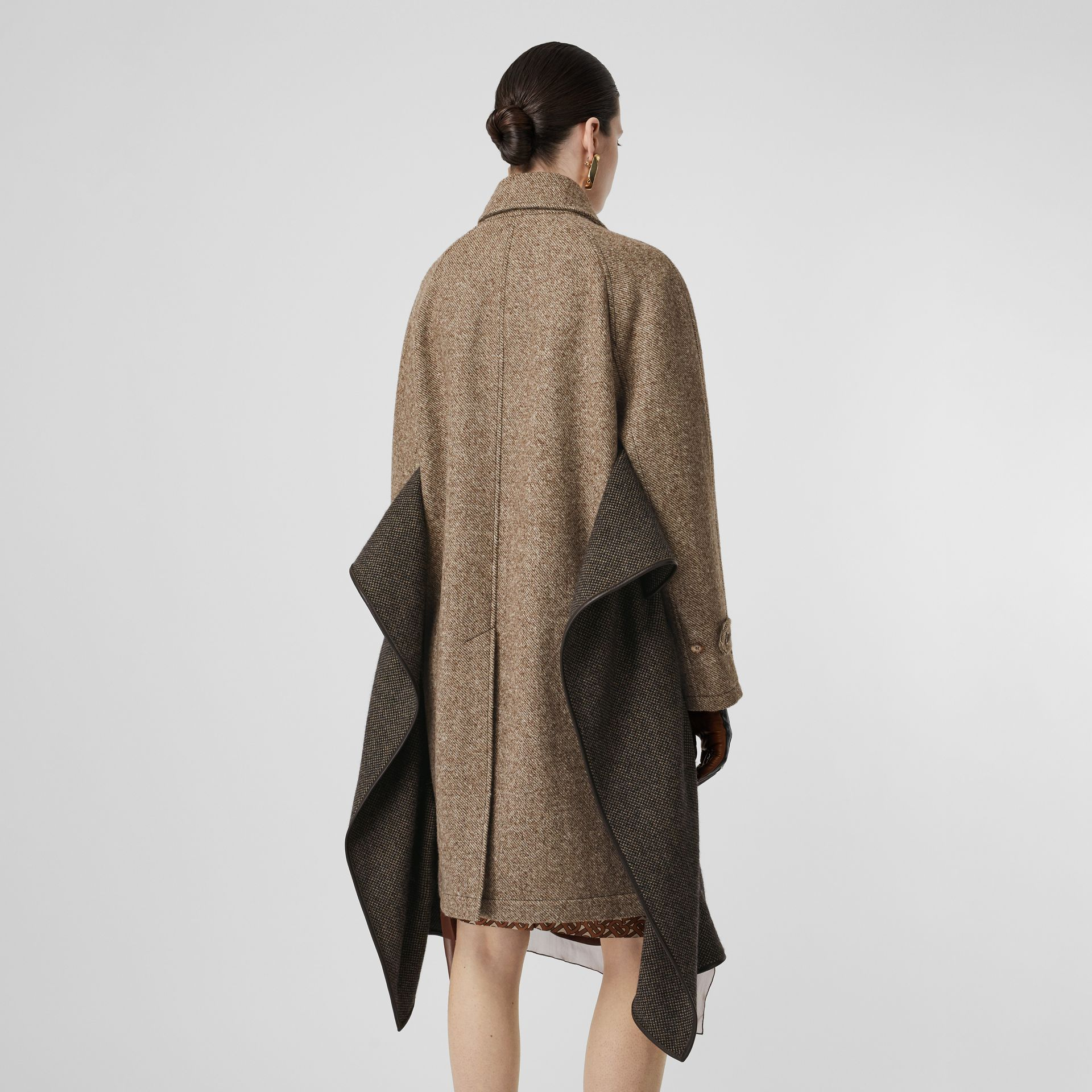 Scarf Detail Wool Mohair Tweed Car Coat in Dark Cheshnut Brown - Women | Burberry - gallery image 2
