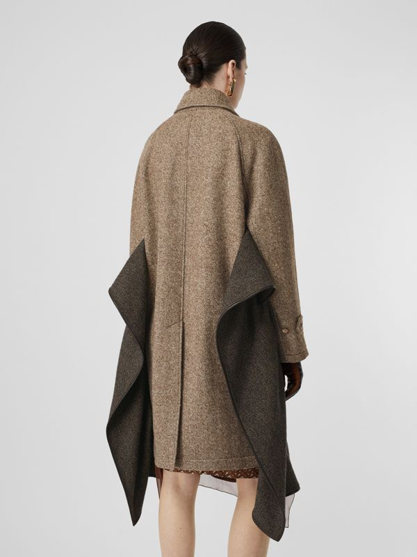 Scarf Detail Wool Mohair Tweed Car Coat in Dark Cheshnut Brown - Women | Burberry - cell image 2