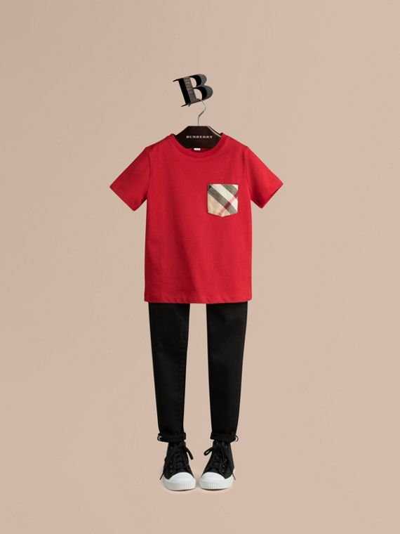 Check Pocket Cotton T-shirt in Military Red