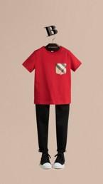 T-shirt avec poche à motif check