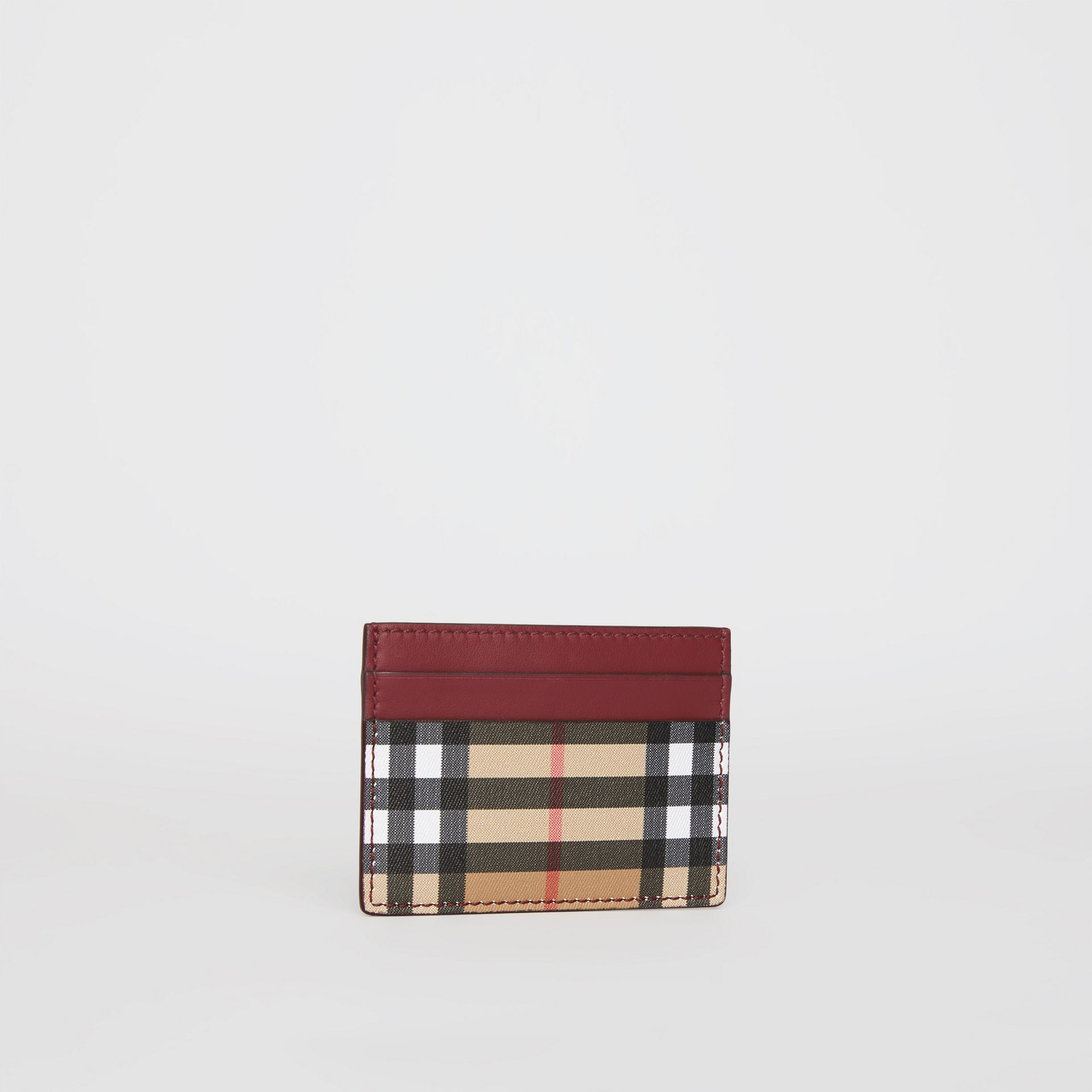Vintage Check and Leather Card Case in Crimson - Women | Burberry Singapore - gallery image 3