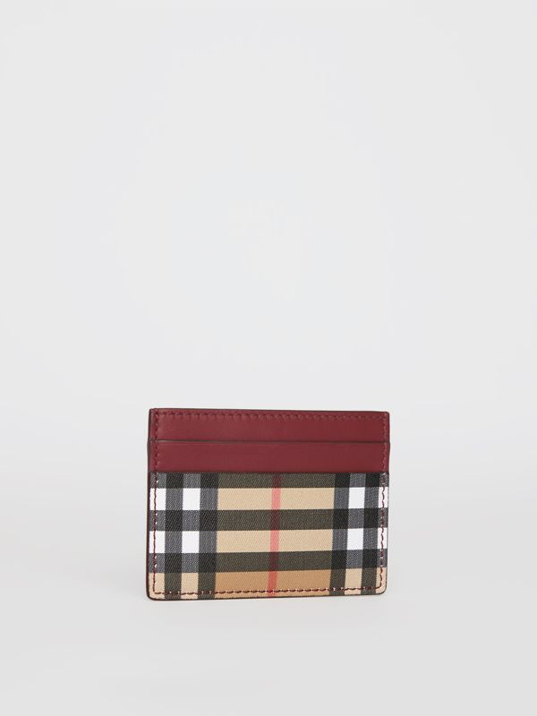 Vintage Check and Leather Card Case in Crimson - Women | Burberry Canada - cell image 3