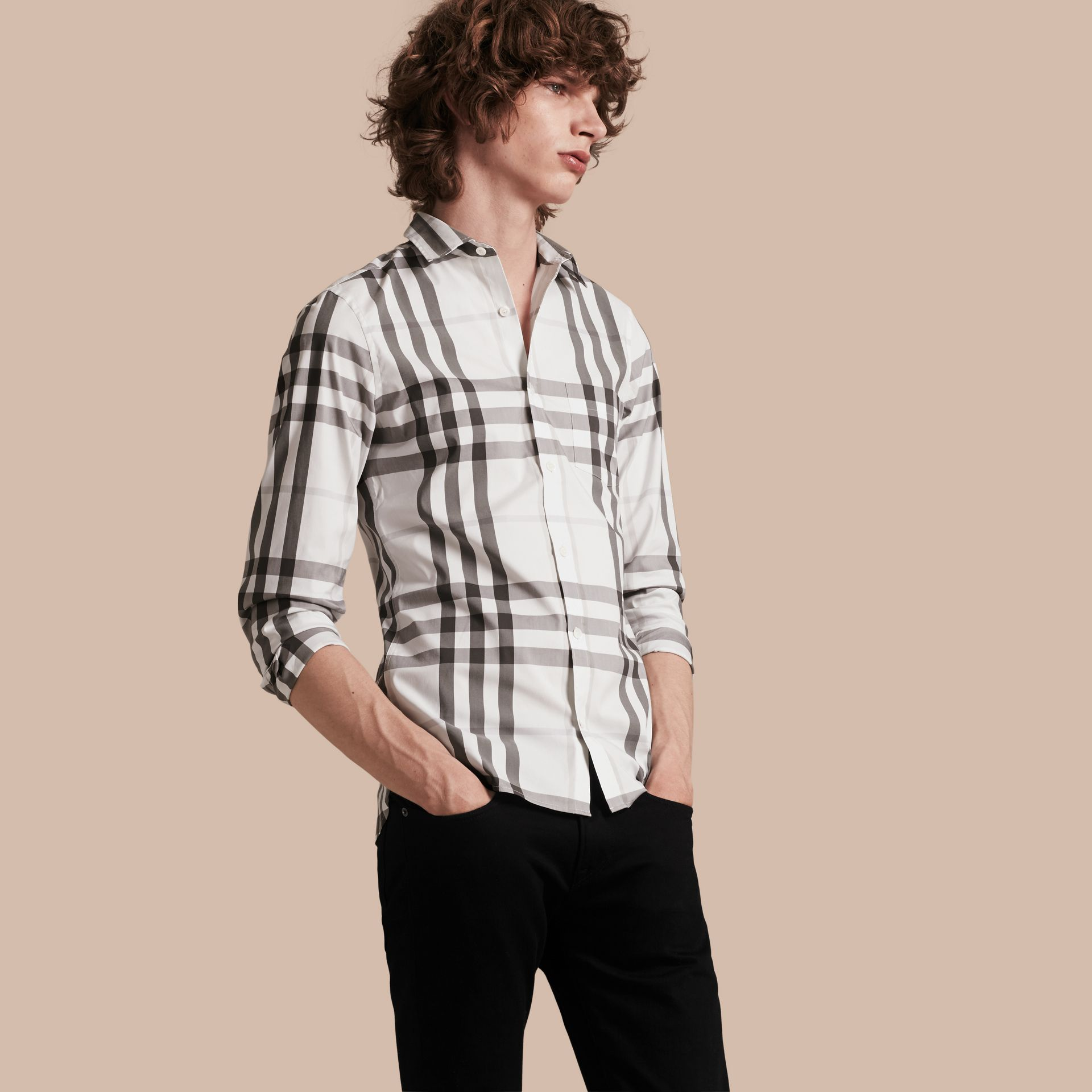 Natural white Check Stretch Cotton Shirt Natural White - gallery image 1