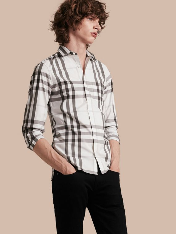 Check Stretch Cotton Shirt Natural White