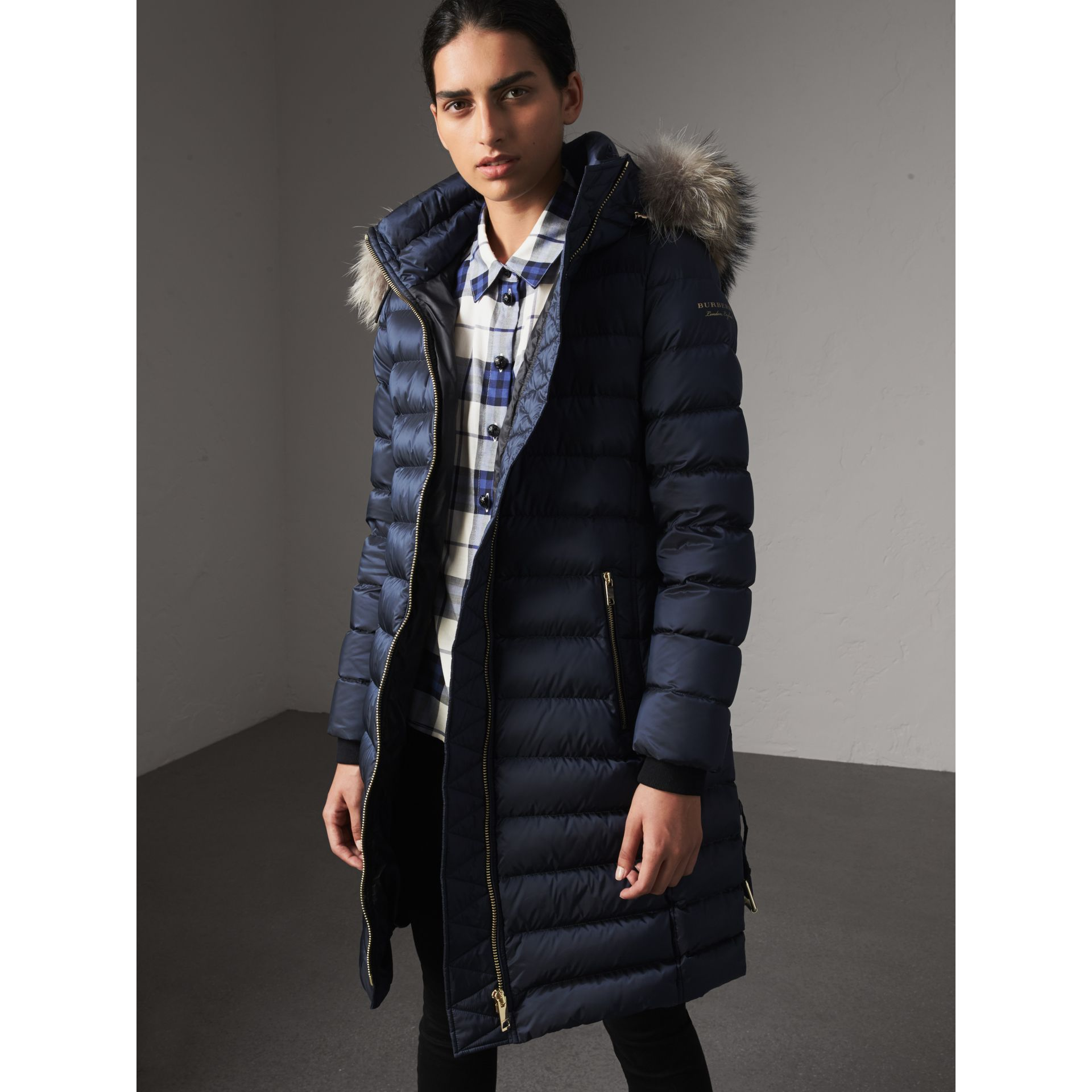 Detachable Fur Trim Down-filled Puffer Coat with Hood in Navy - Women | Burberry - gallery image 1