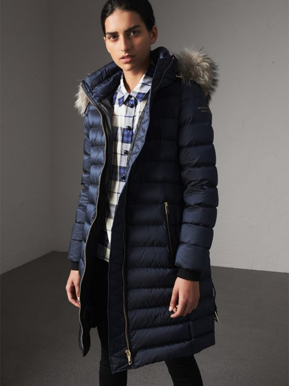 Detachable Fur Trim Down-filled Puffer Coat with Hood in Navy