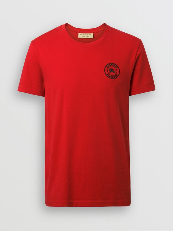 Embroidered Logo Cotton T-shirt in Military Red - Men | Burberry - cell image 3