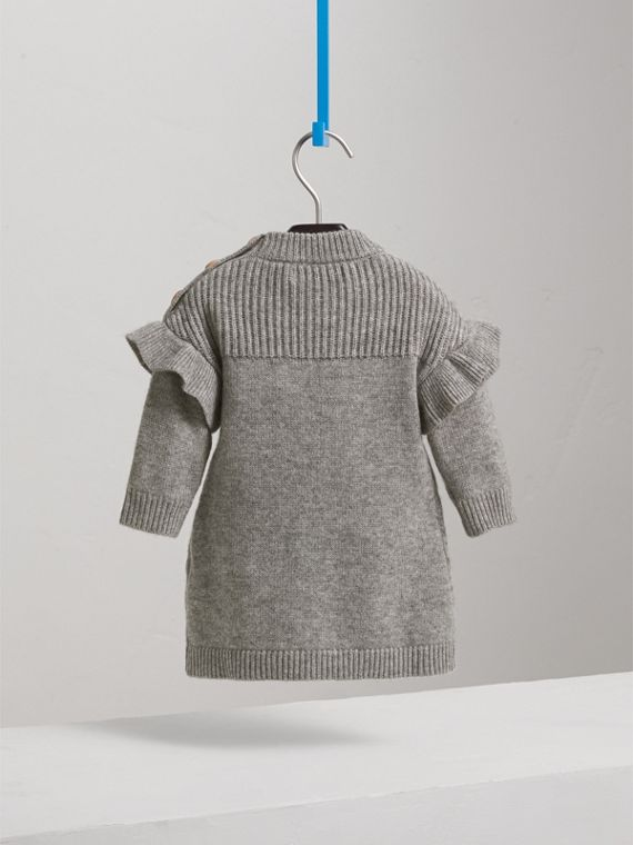 Ruffle Detail Wool Cashmere Jumper Dress in Grey Melange | Burberry - cell image 3