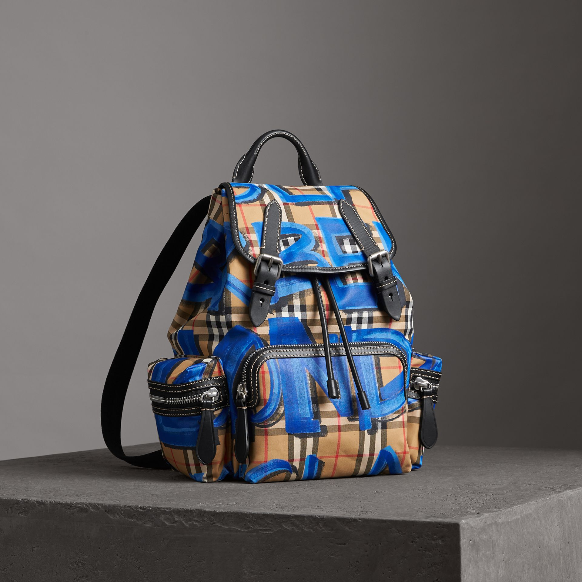 The Medium Rucksack in Graffiti Print Vintage Check in Black - Women | Burberry United States - gallery image 0
