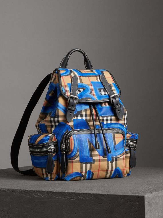 The Medium Rucksack in Graffiti Print Vintage Check in Black