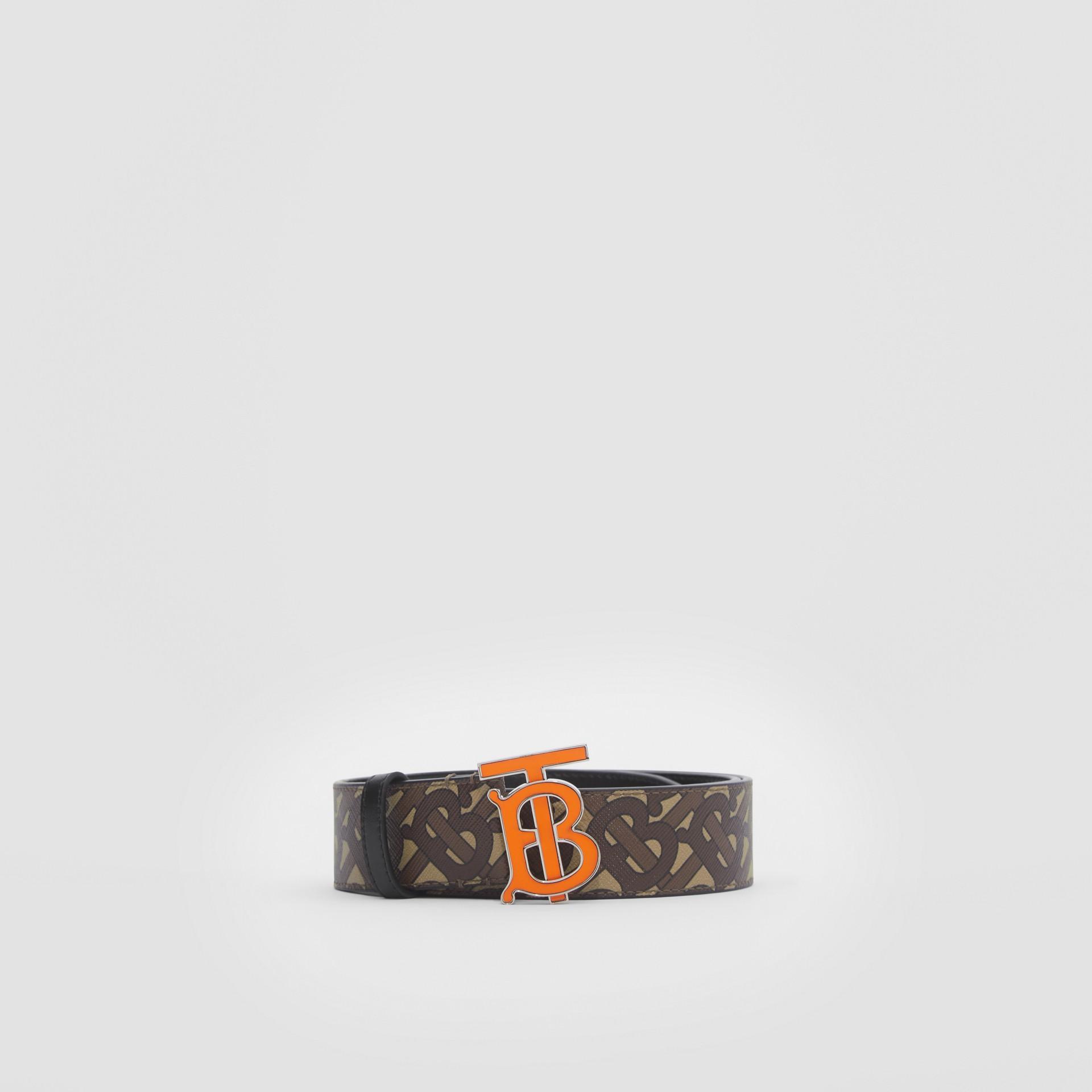 Monogram E-canvas Belt in Bridle Brown - Men | Burberry United Kingdom - gallery image 3