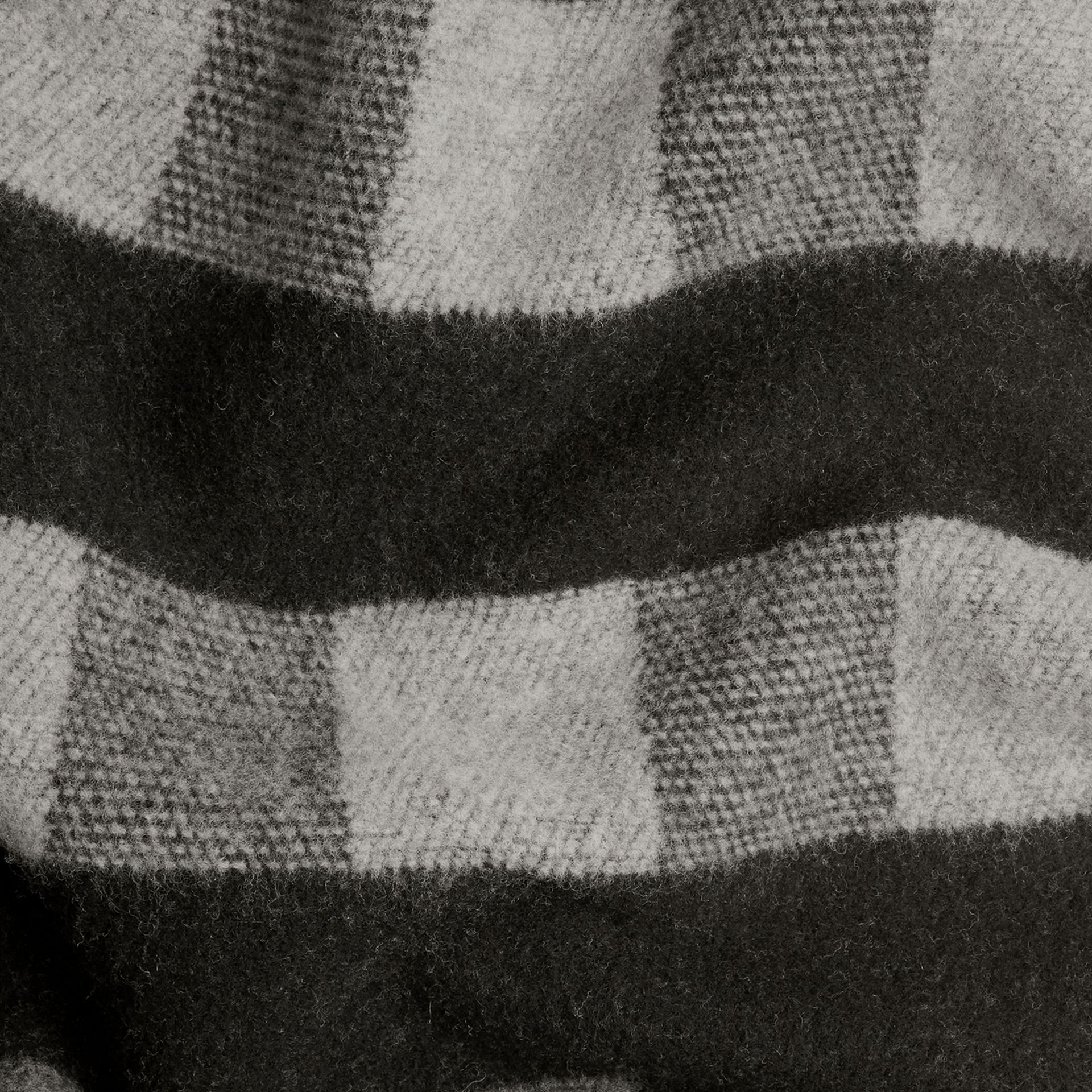 Check Wool Cashmere Blanket Dark Grey - gallery image 3