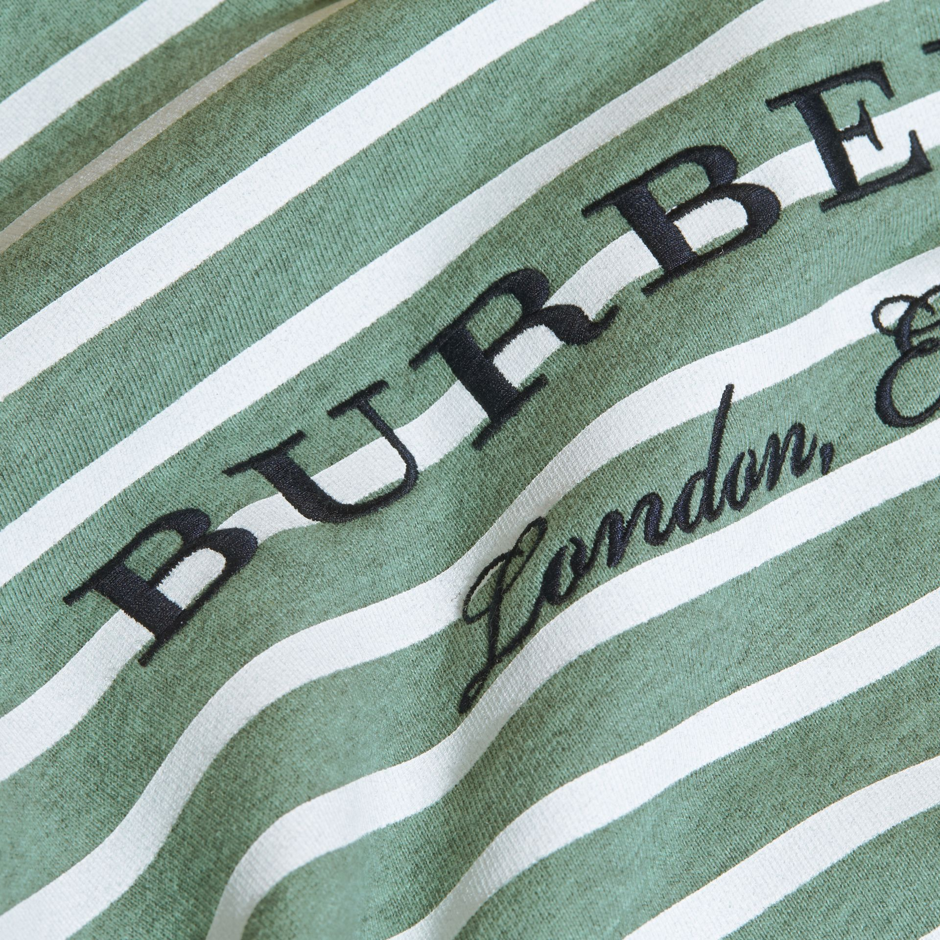 Striped Cotton Sweatshirt in Pale Opal Melange - Girl | Burberry - gallery image 2