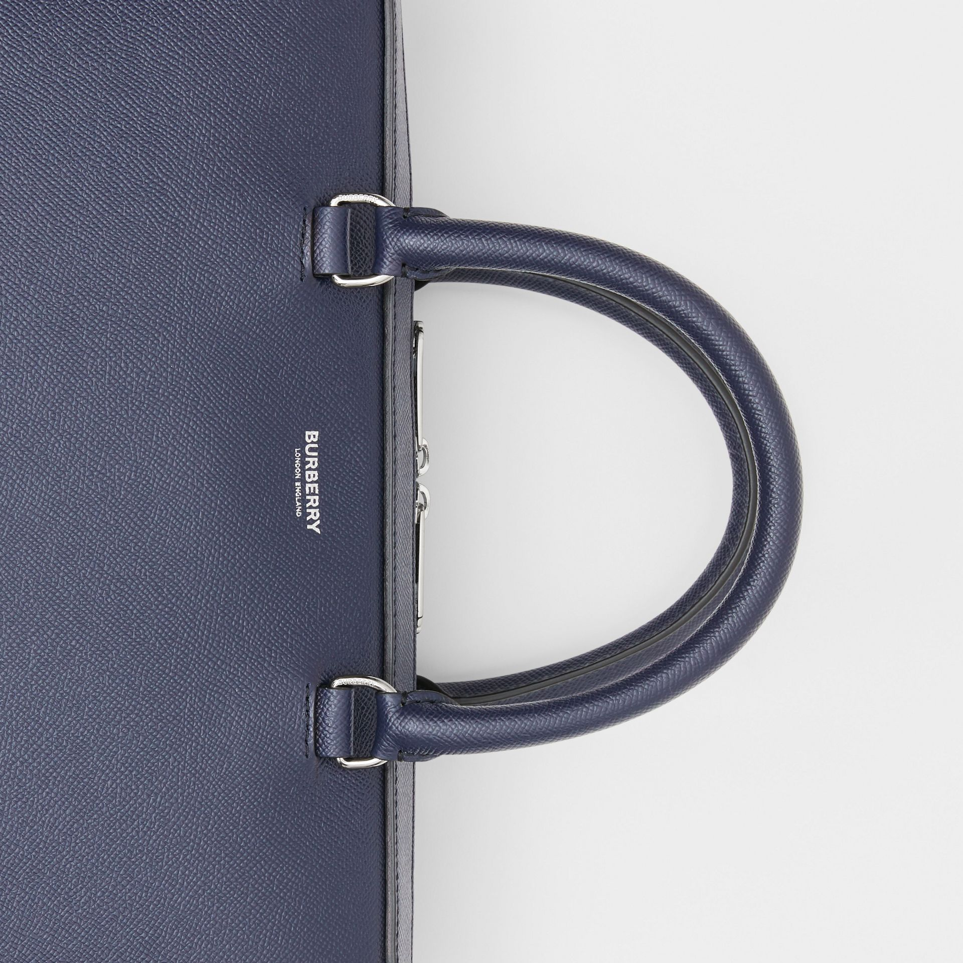 Grainy Leather Briefcase in Regency Blue - Men | Burberry Singapore - gallery image 1