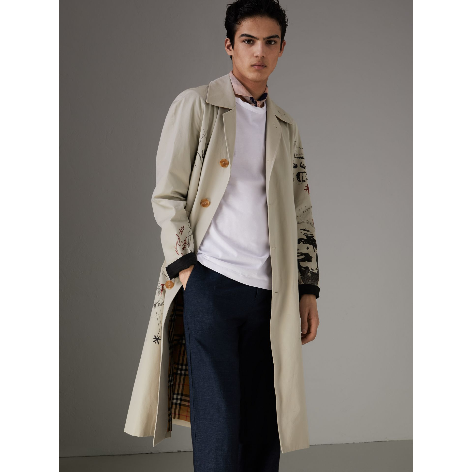 Sketch Print Car Coat in Stone - Men | Burberry - gallery image 5