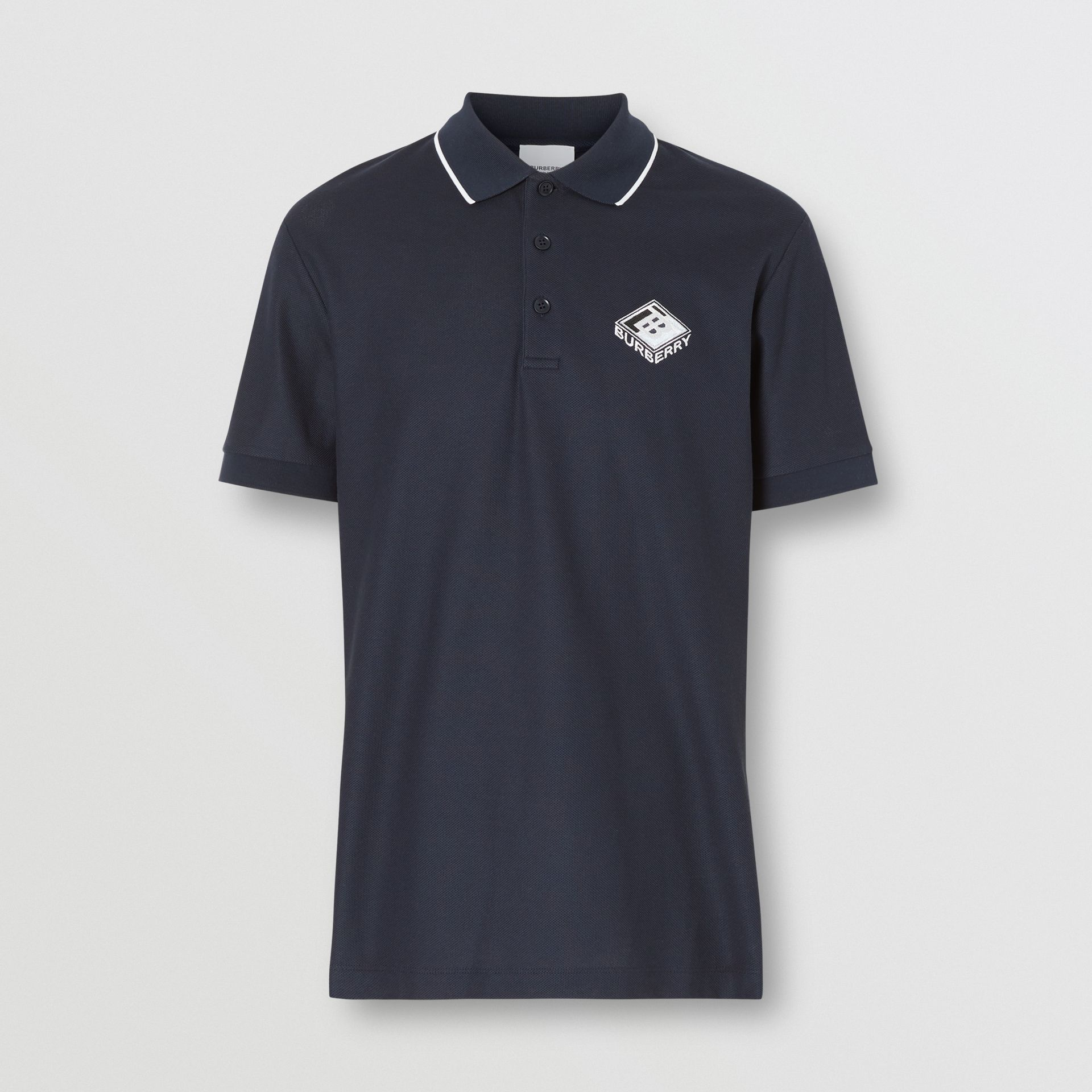 Logo Graphic Cotton Piqué Polo Shirt in Navy - Men | Burberry United States - gallery image 3