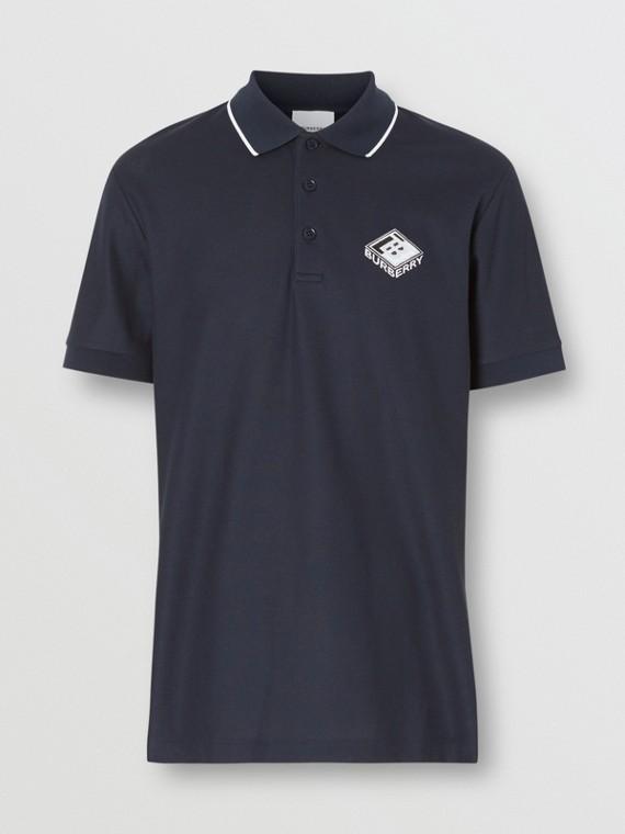 Logo Graphic Cotton Piqué Polo Shirt in Navy