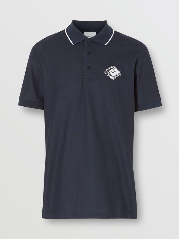 Logo Graphic Cotton Piqué Polo Shirt in Navy - Men | Burberry - cell image 3