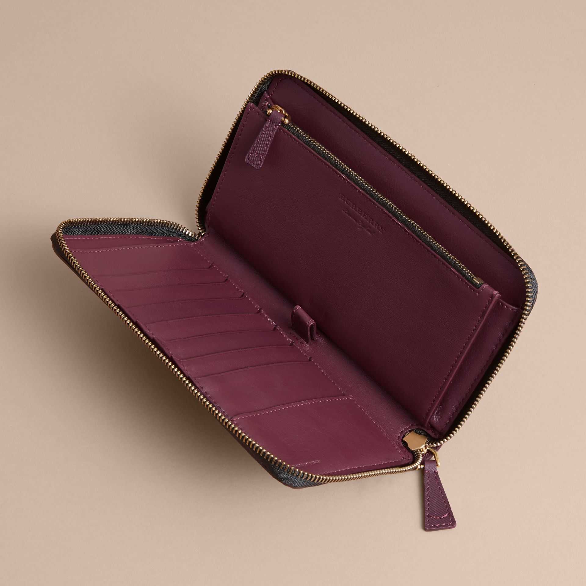 Trench Leather Ziparound Wallet in Wine - Men | Burberry Australia - gallery image 5