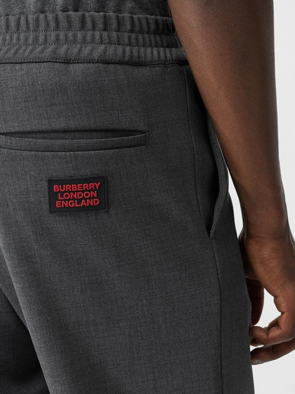 Stripe Detail Stretch Wool Neoprene Trackpants in Dark Grey Melange - Men | Burberry - cell image 1