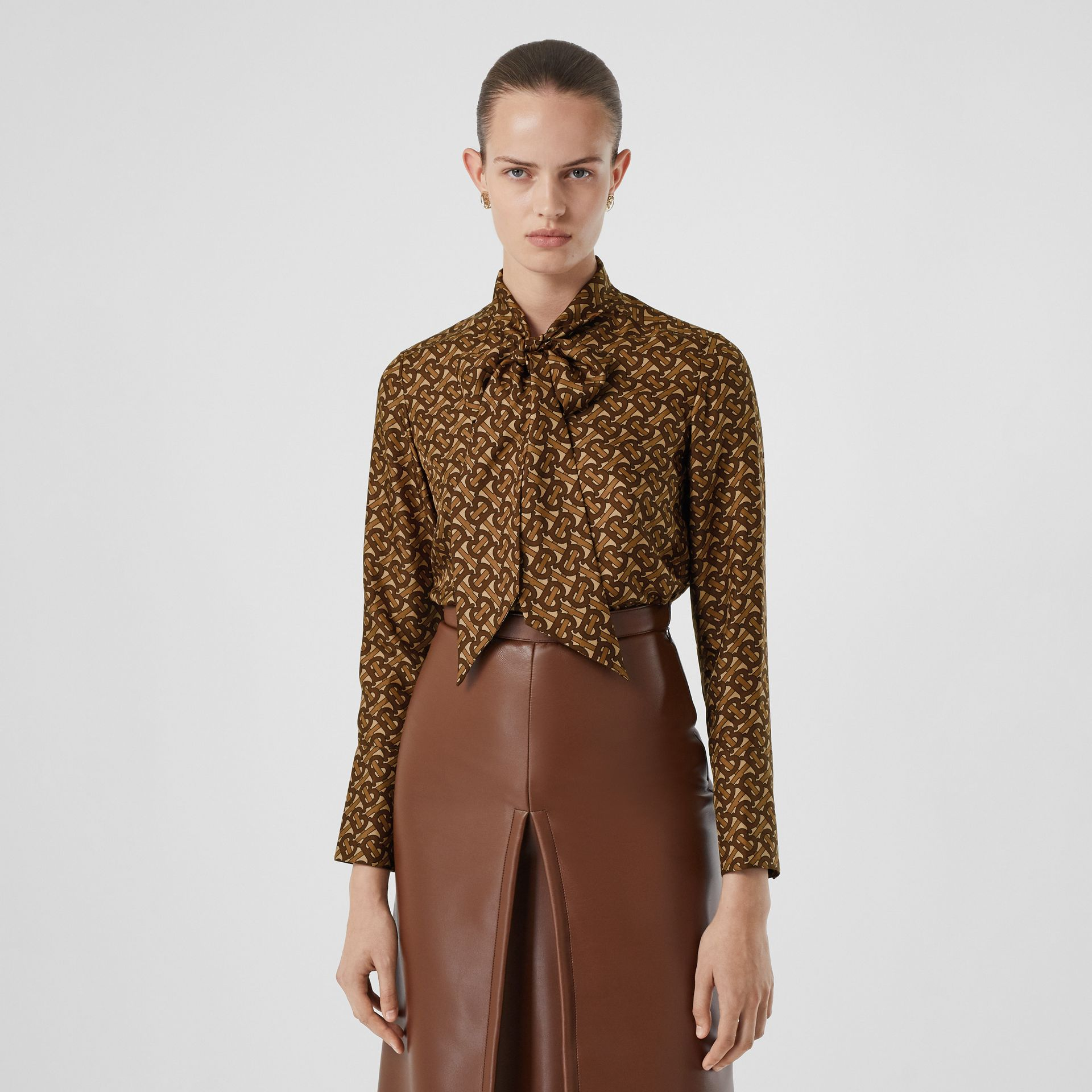 Monogram Print Silk Tie-neck Shirt in Bridle Brown - Women | Burberry - gallery image 5