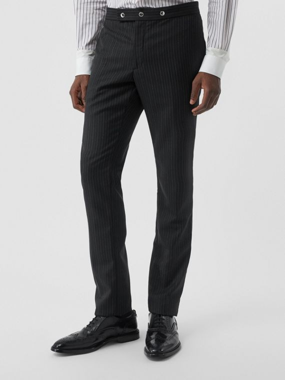 Classic Fit Pinstriped Wool Tailored Trousers in Black