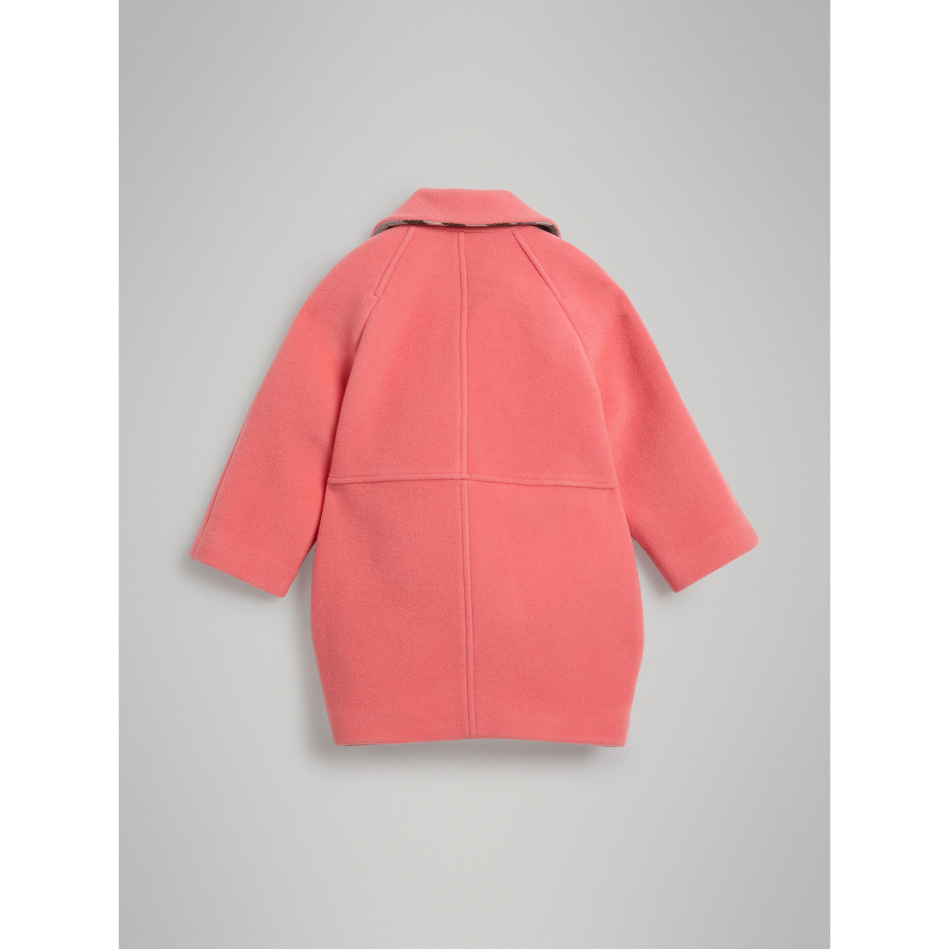 Boiled Wool Cocoon Coat in Bright Pink | Burberry - gallery image 3