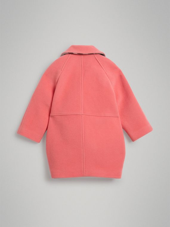 Boiled Wool Cocoon Coat in Bright Pink - Girl | Burberry - cell image 3