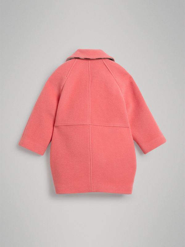 Boiled Wool Cocoon Coat in Bright Pink | Burberry - cell image 3
