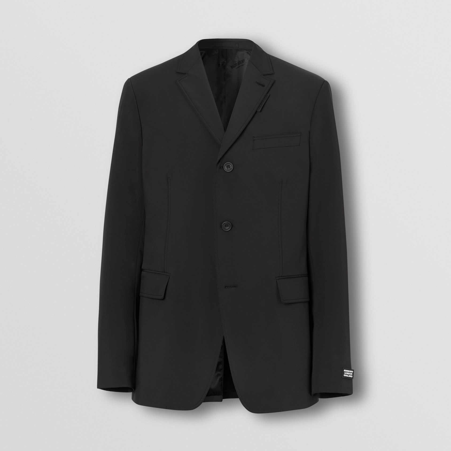 Slim Fit Technical Nylon Tailored Jacket in Black - Men | Burberry Australia - gallery image 3