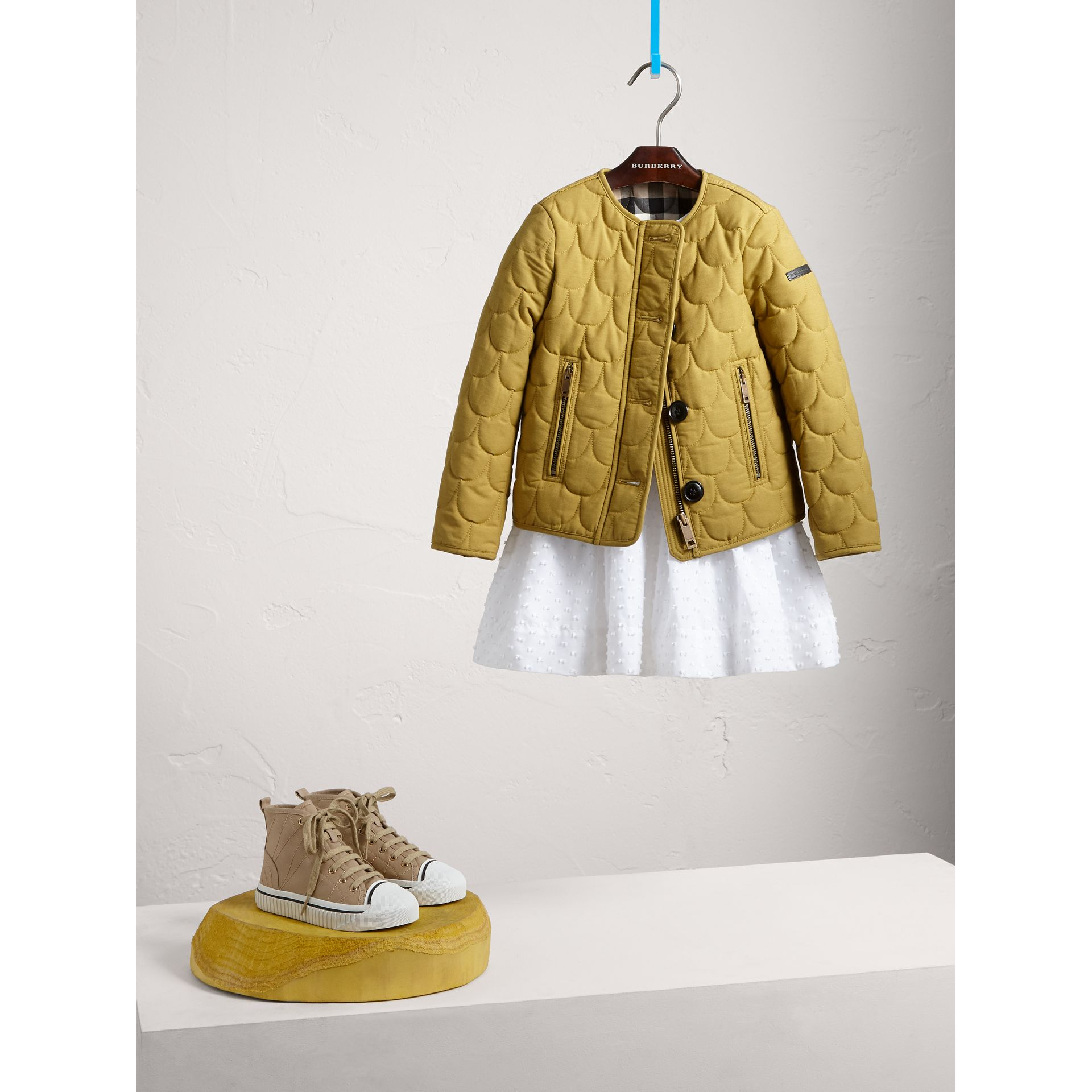 Collarless Scallop-quilted Jacket in Dusty Citrine - Girl | Burberry - gallery image 1