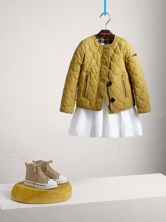 Collarless Scallop-quilted Jacket in Dusty Citrine