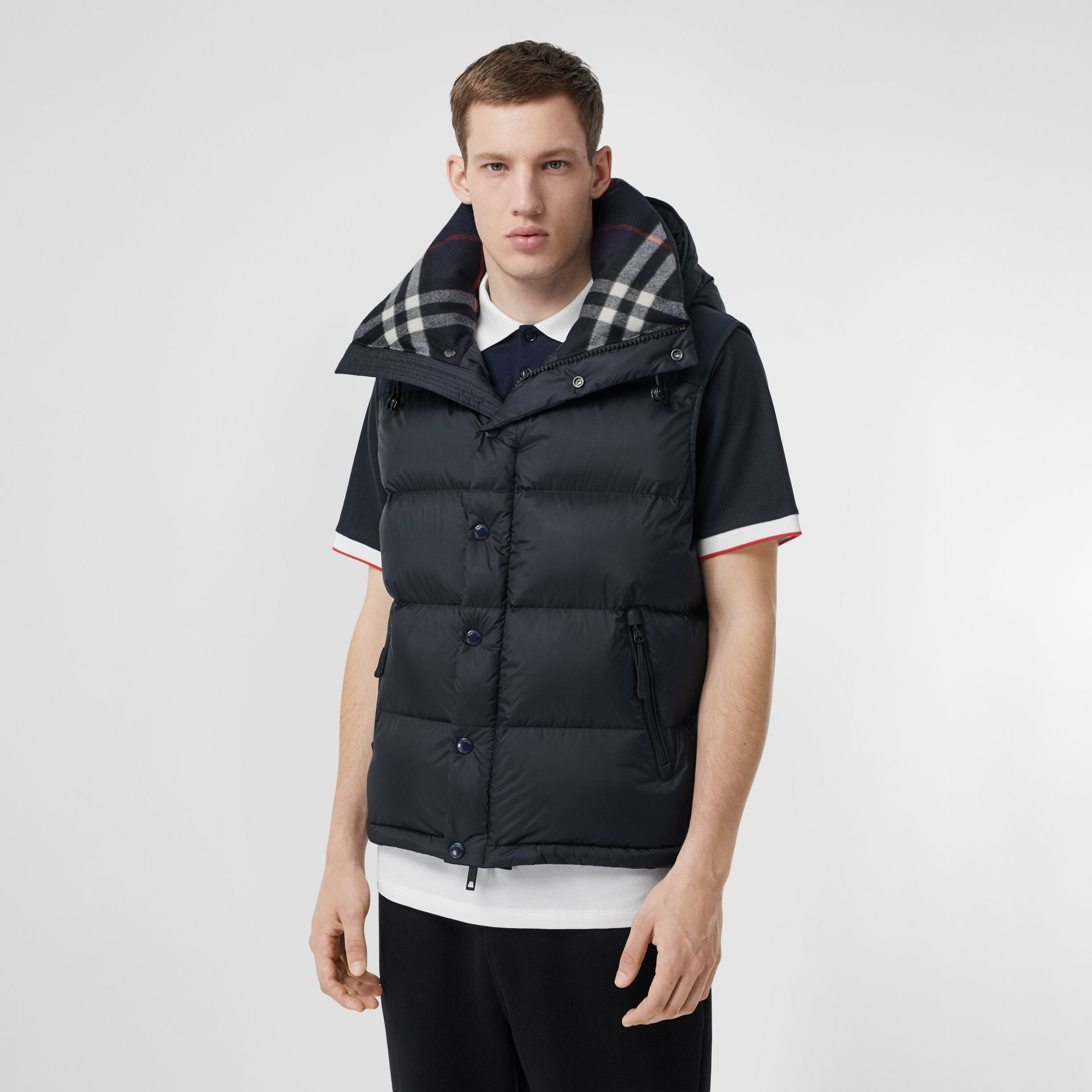 Detachable Sleeve Hooded Puffer Jacket in Navy - Men | Burberry - gallery image 6