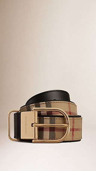 Horseferry Check and Leather Belt Black