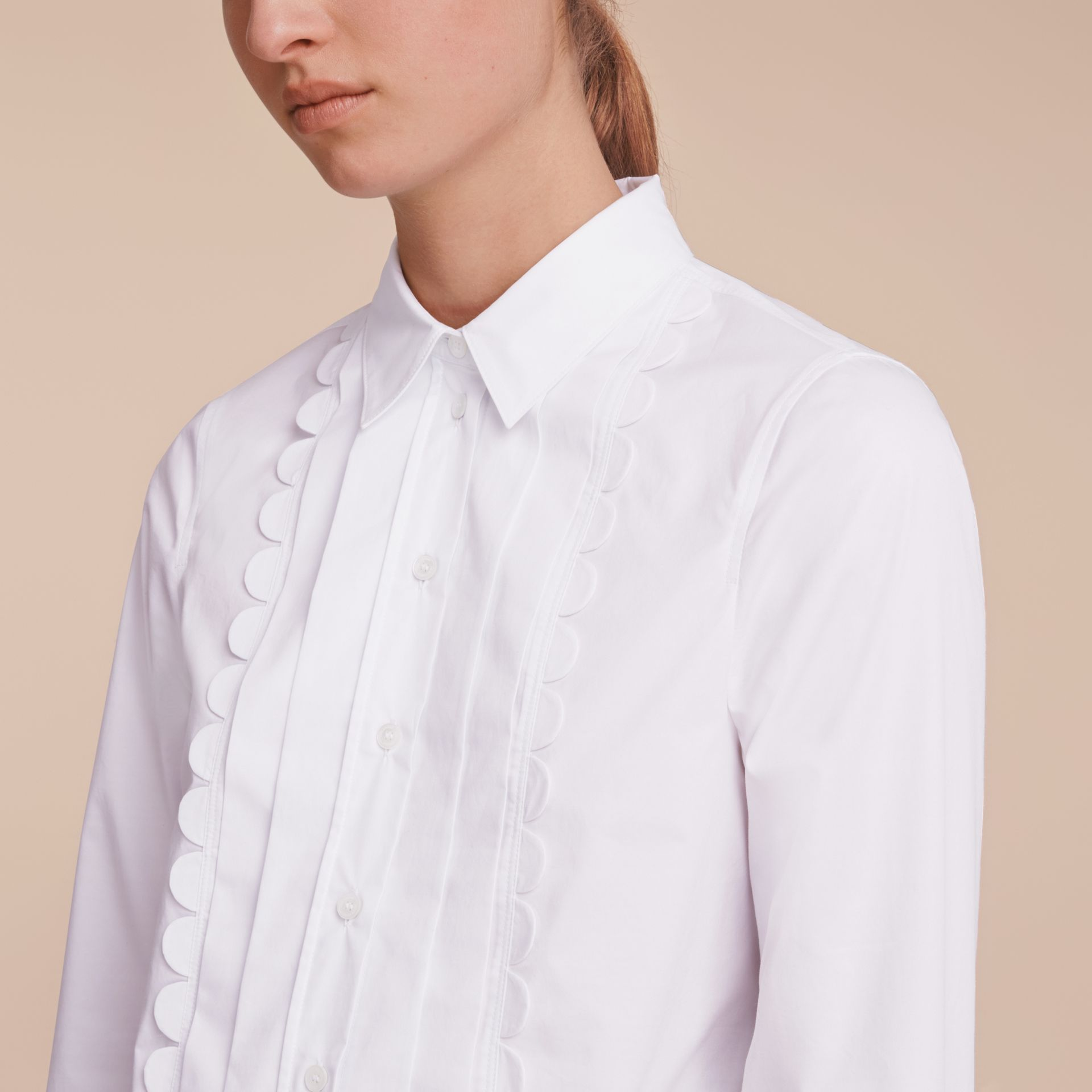 Pintuck Bib Scallop Detail Cotton Shirt - gallery image 5