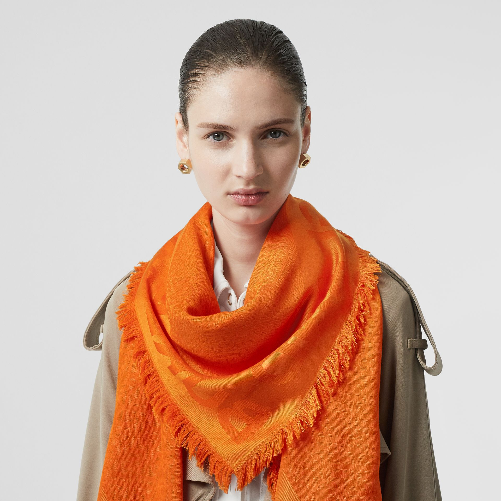 Monogram Silk Wool Jacquard Large Square Scarf in Orange | Burberry - gallery image 2