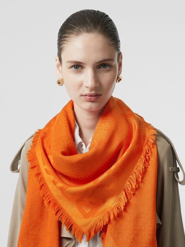 Monogram Silk Wool Jacquard Large Square Scarf in Orange | Burberry - cell image 2