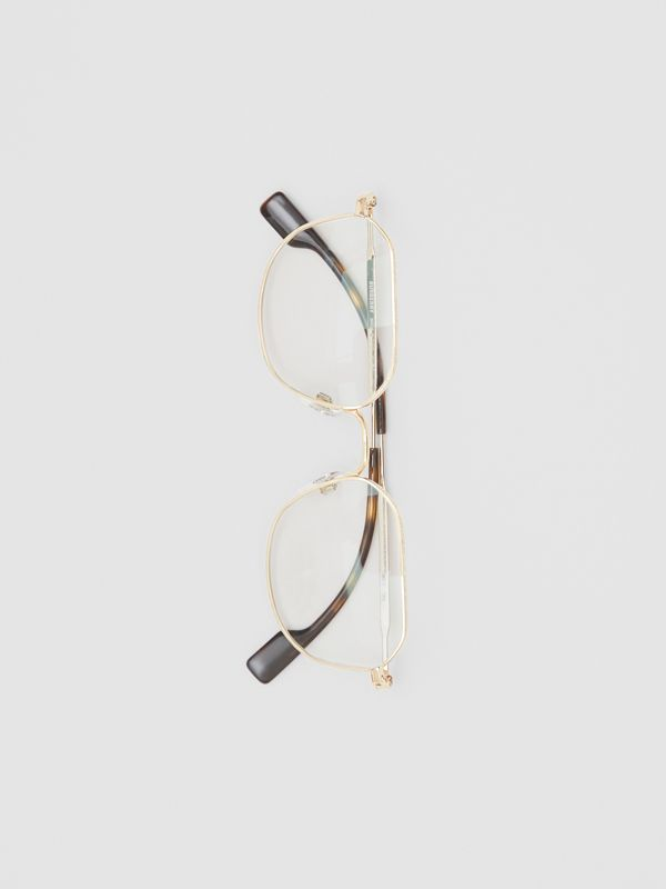 Gold-plated Square Optical Frames in Light - Men | Burberry - cell image 3