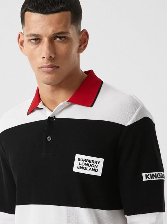 ロングスリーブ ロゴアップリケ ストライプ コットンポロシャツ (ブラック/ホワイト) - メンズ | バーバリー - cell image 1