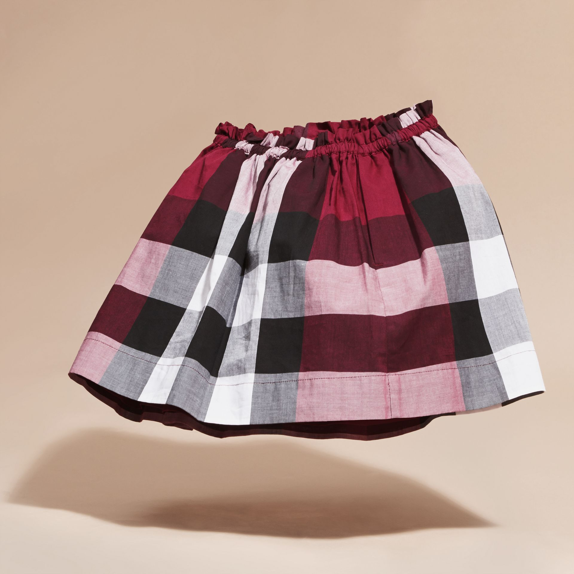 Dark plum pink Check Cotton Skirt - gallery image 4