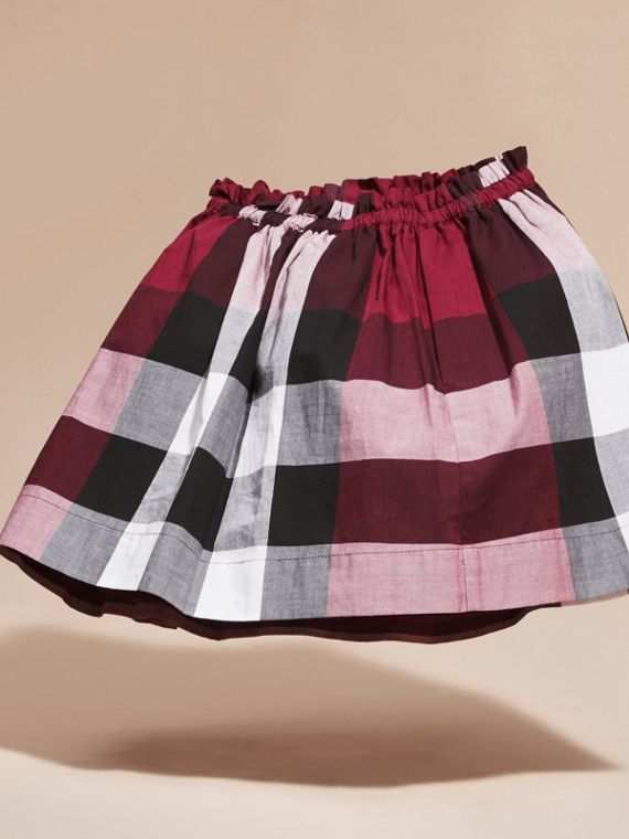 Dark plum pink Check Cotton Skirt - cell image 3