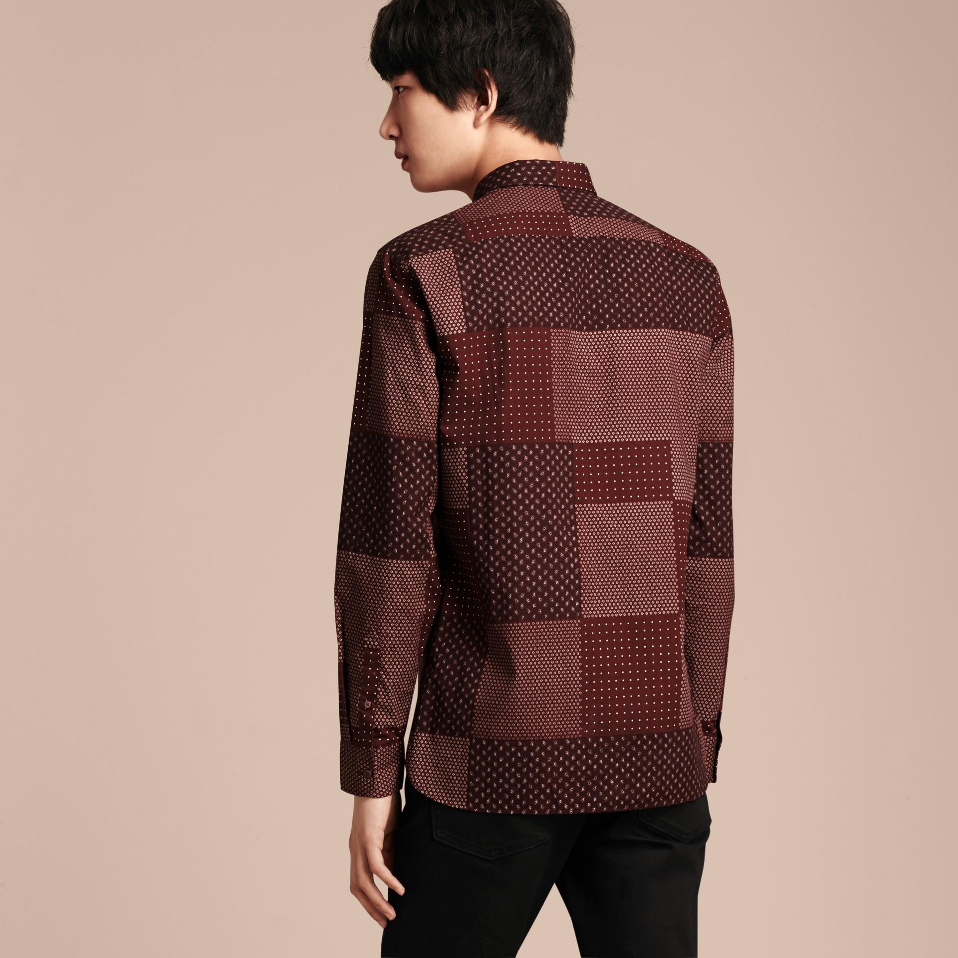 Sambuco scuro Camicia in cotone con stampa patchwork Sambuco Scuro - immagine della galleria 3