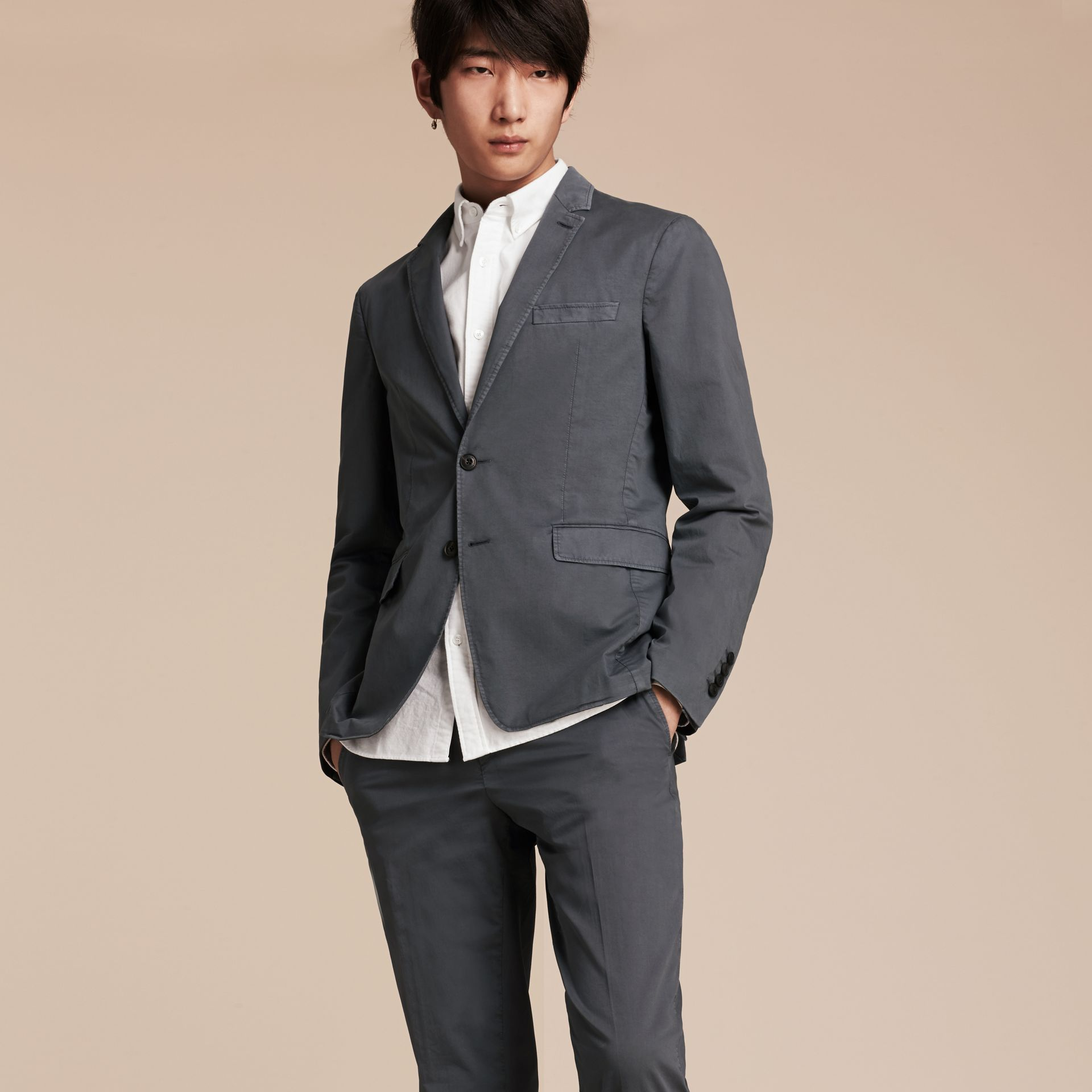 Mid grey Slim Fit Stretch-cotton Blazer Mid Grey - gallery image 7